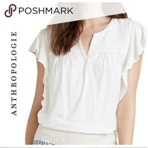 anthropologie meadow rue v neck white top
